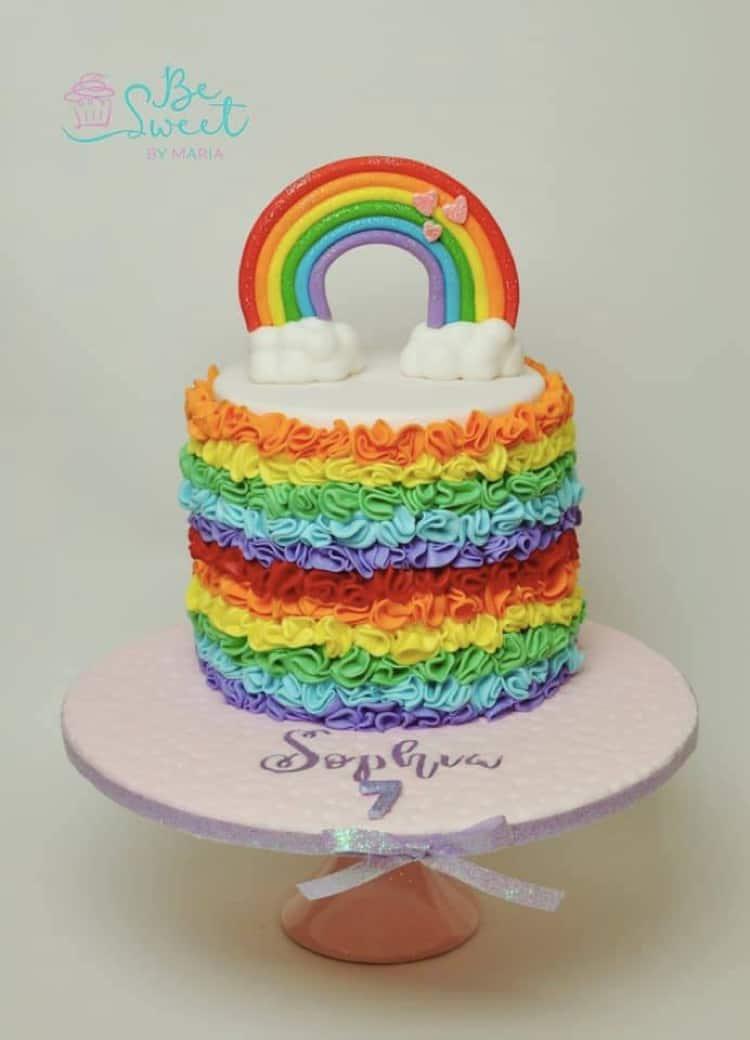 Rainbow topper and Rainbow Ruffles Cake