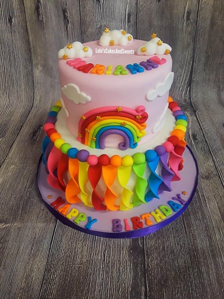 Rainbow streamers cake