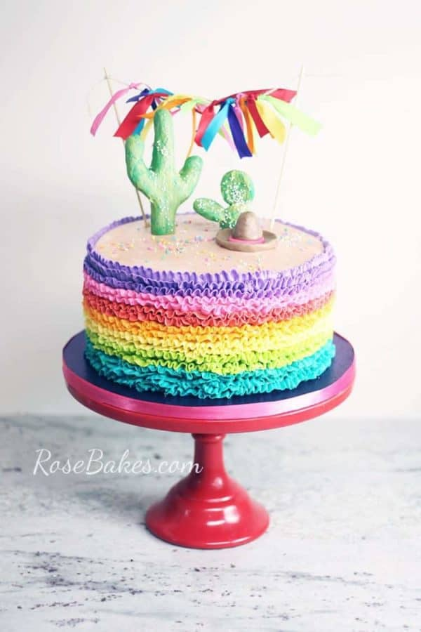 Rainbow Fiesta Cake with Cactus and Bunting