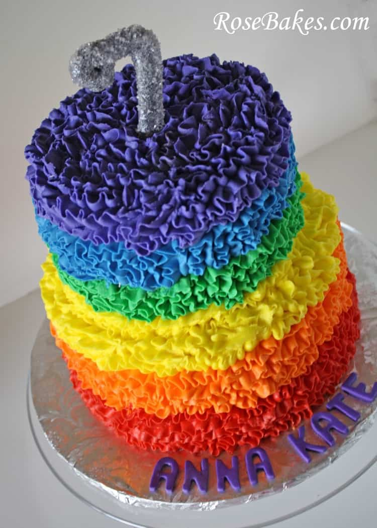 Rainbow Buttercream Ruffles Cake
