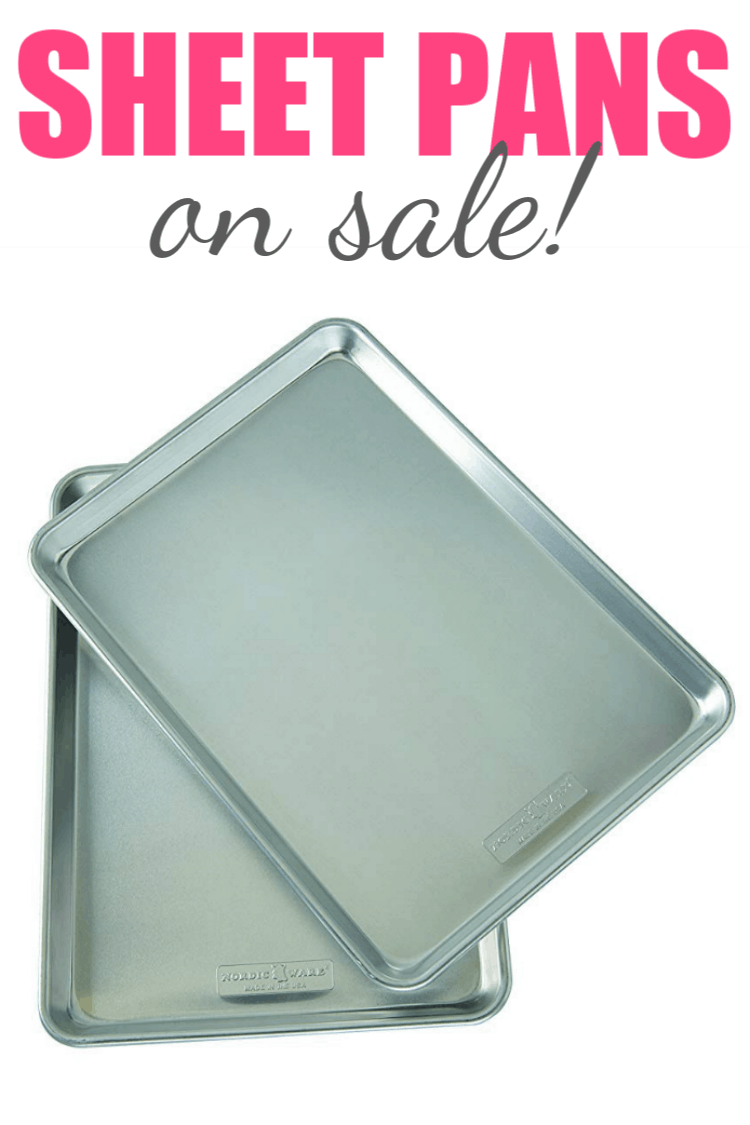 sheet pans on white background with text for pinterest