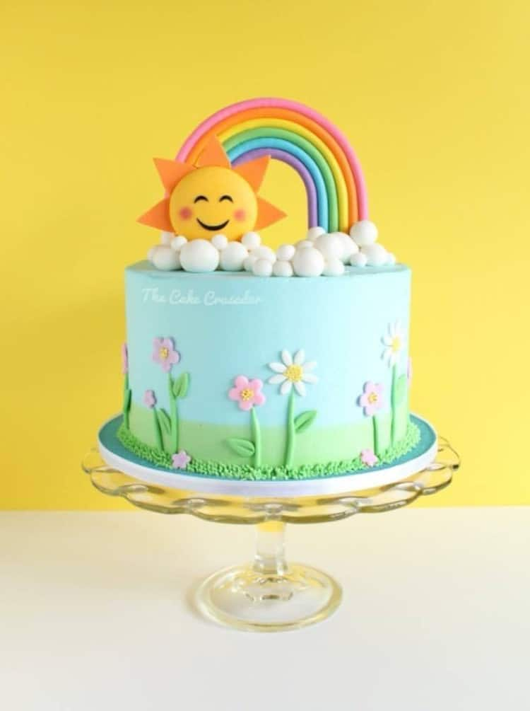 Happy Sunshine and Rainbow Cake by The Cake Crusader
