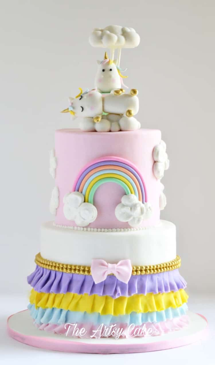 Unicorns in the Clouds with rainbows and ruffles