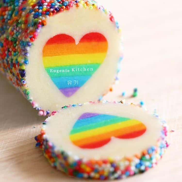 Slice and bake rainbow heart sugar cookies