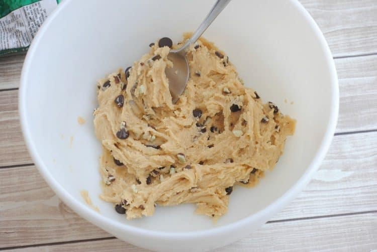 Andes Mint Chocolate Chip Cookies dough in white bowl