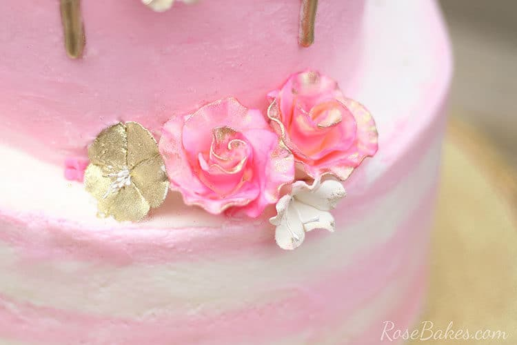Pink and Gold Gum paste flowers on Buttercream Flamingo Cake