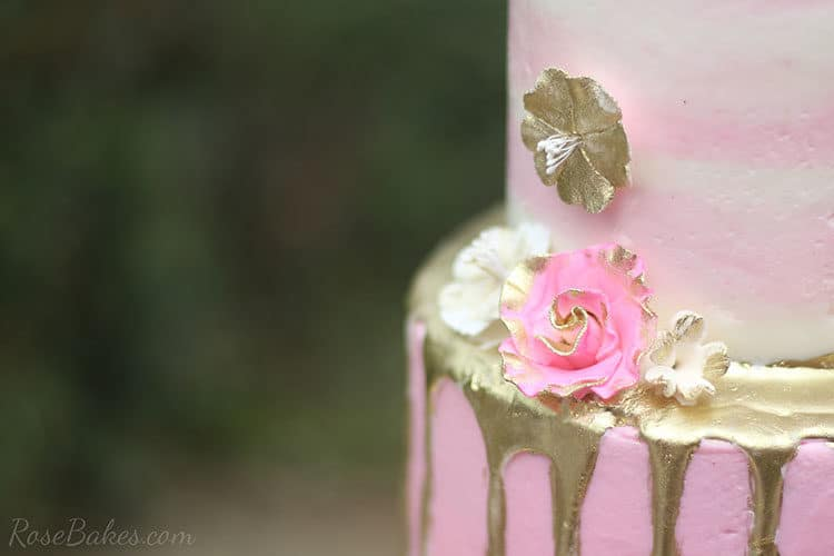 Pink and Gold Gum Paste Flowers with Gold Drip on Buttercream Flamingo Cake