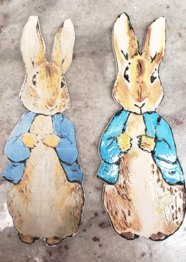 paper peter rabbit and hand cut gumpaste peter rabbit painted with edible paint
