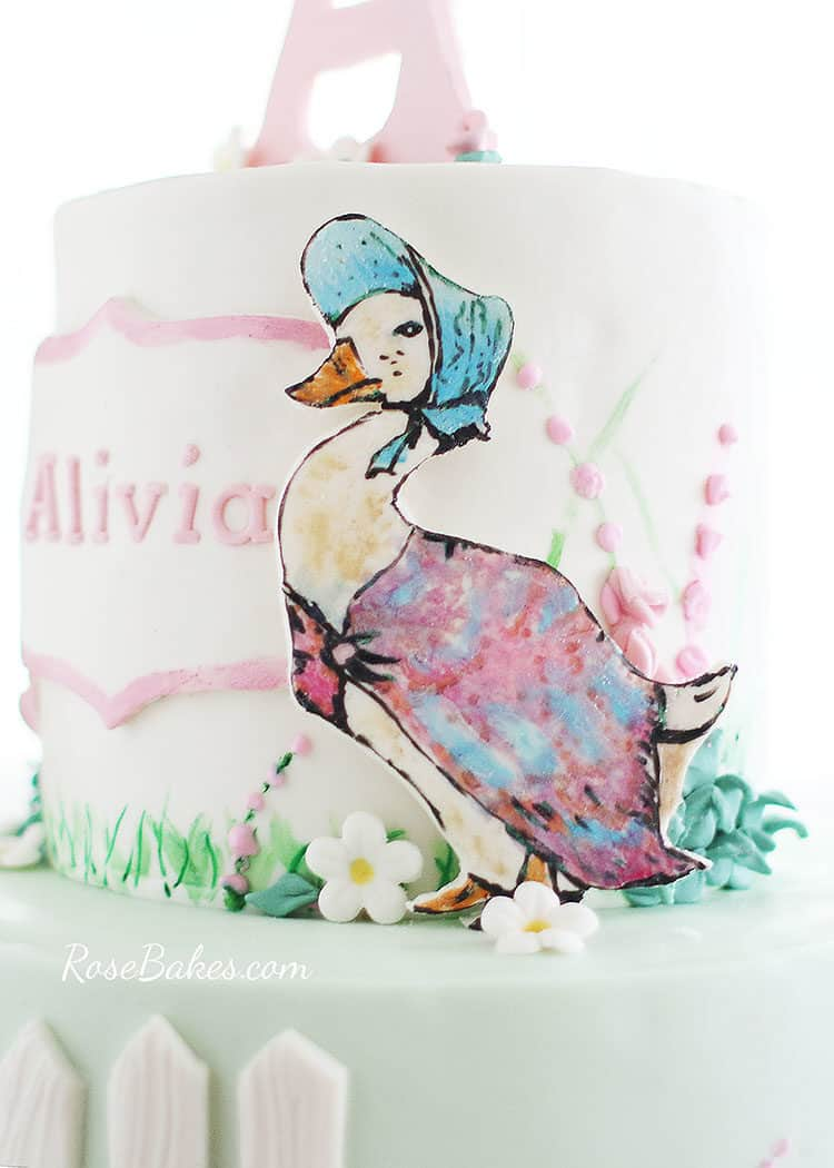 hand-painted jemima puddle-duck cake character on Beatrix Potter Cake