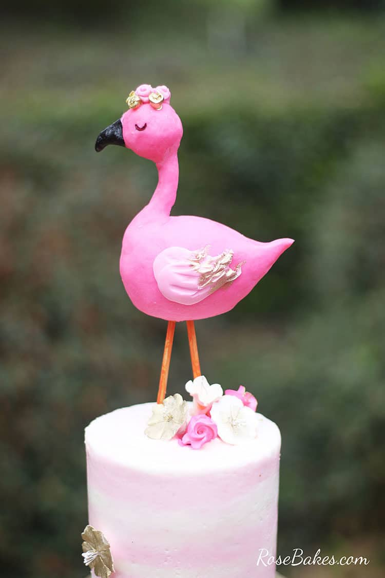 Pink Flamingo Cake Topper on Buttercream Flamingo Cake with Gum Paste flowers
