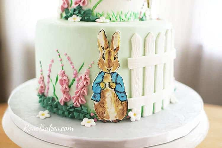 hand-painted peter rabbit cake character on Beatrix Potter Cake