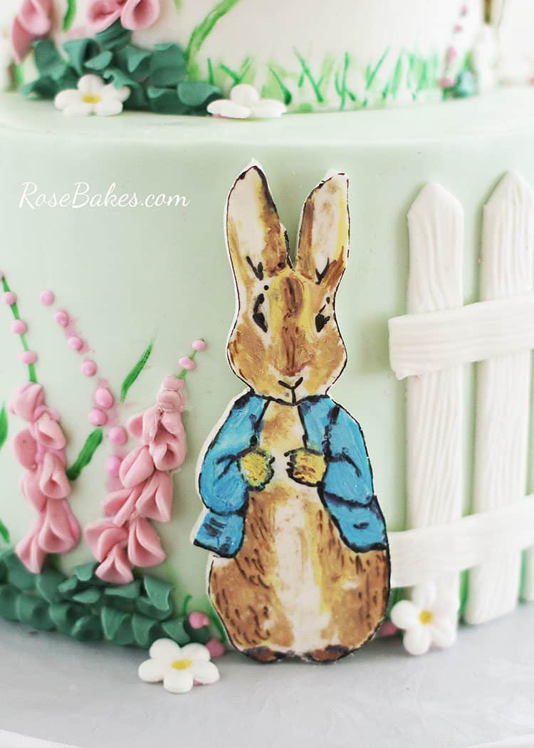 hand-painted jemima peter rabbit cake character on Beatrix Potter Cake