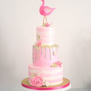 Pink & Gold Flamingo Cake & Party (with Flamingo Cake Topper Tutorial)