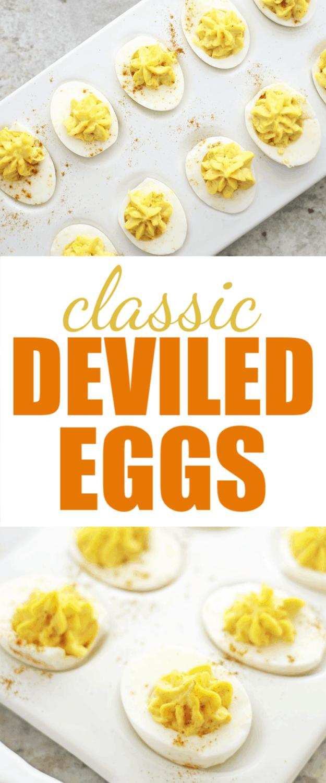 the best classic deviled eggs on white platter for Easter