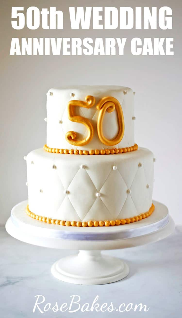 50th Anniversary Cake with Gold