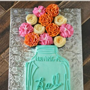 Having A Ball Mason Jar Cake With Flowers