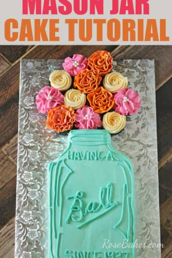"""Having a Ball"" Mason Jar Cake with Flowers"