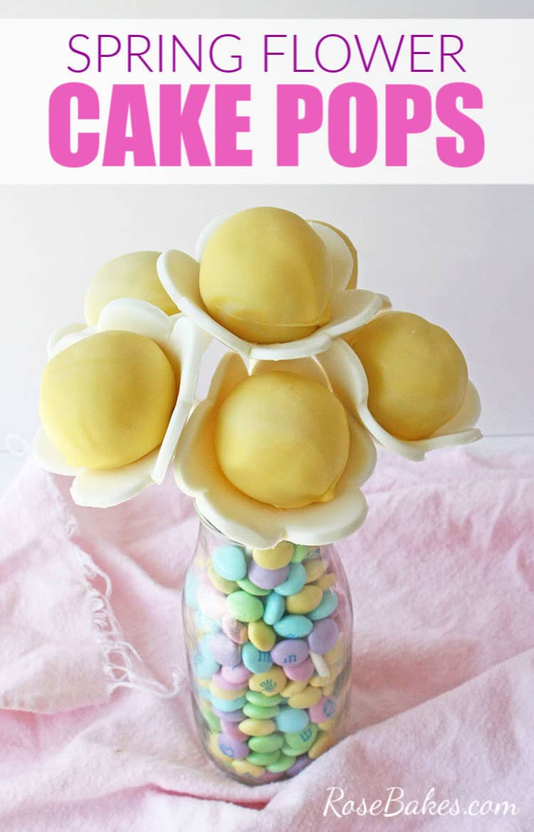 Spring Flower Cake Pops in a clear jar with M&Ms