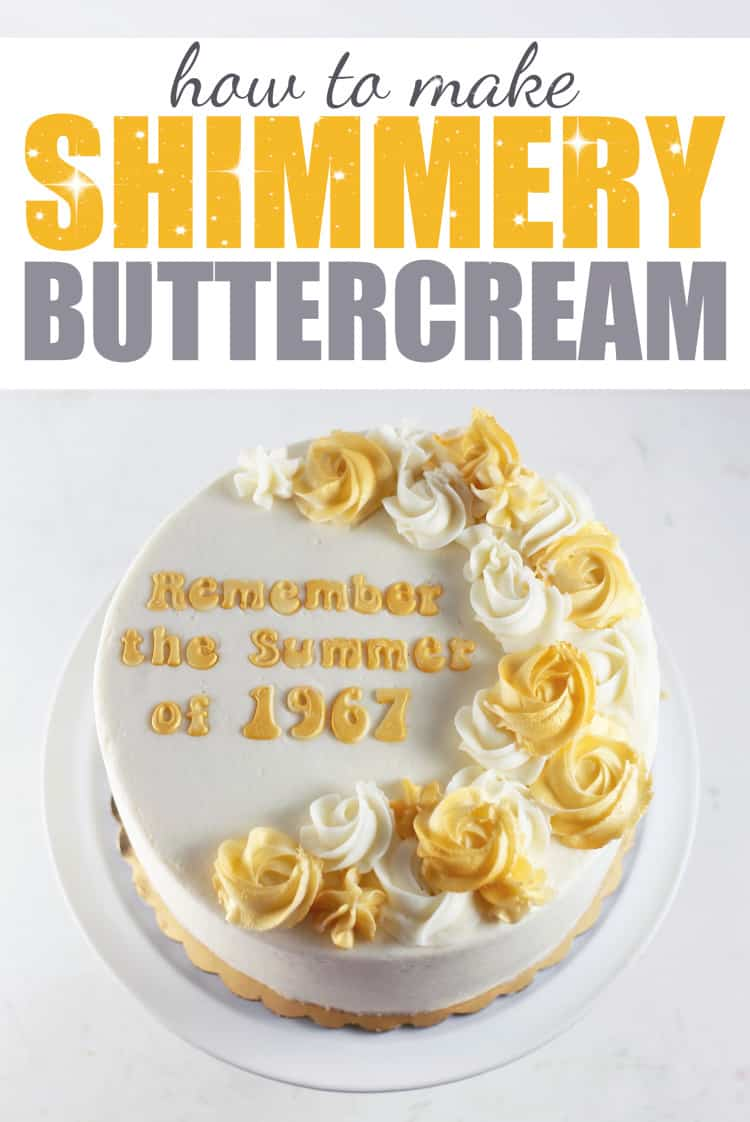 50th Annivesary Cake - How to Make Shimmery Buttercream Roses
