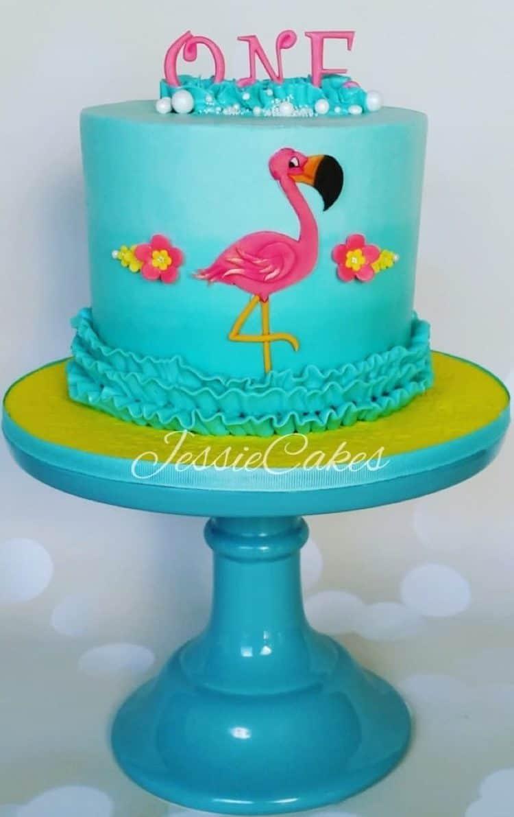 Flamingo First Birthday Cake