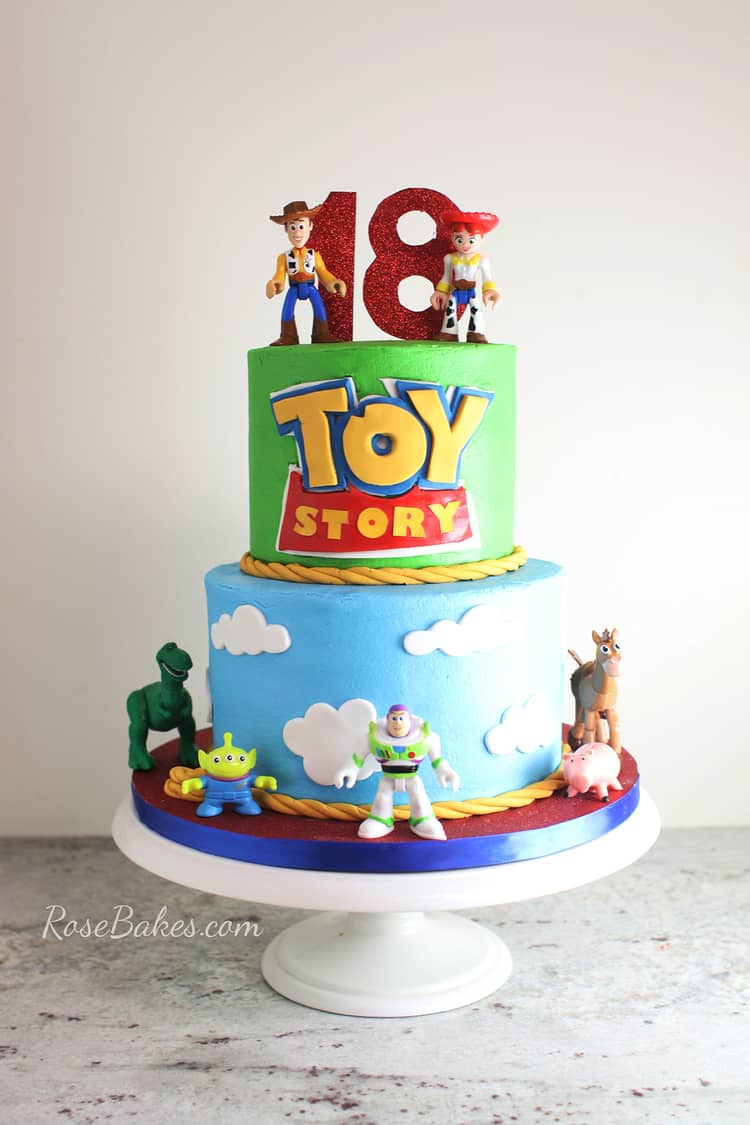 How to Stick Fondant Decorations to Cake on a Buttercream Toy Story Cake with Fondant decorations
