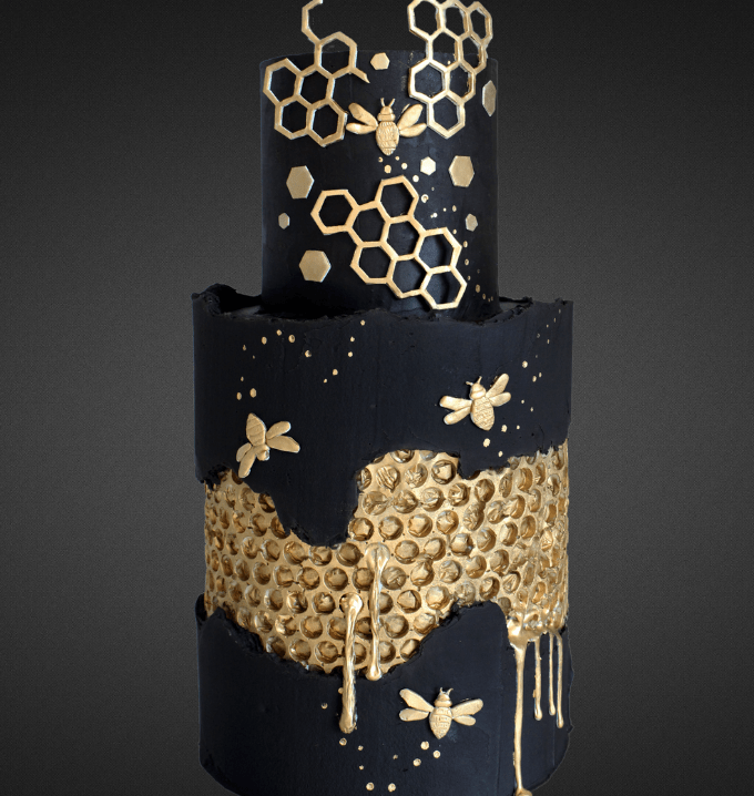 15+ Fault Line Cakes that WOW - Black and Gold Honeycomb Bumblebees Fault Line Cake
