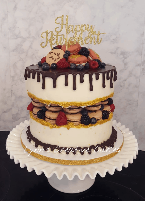 15+ Fault Line Cakes that WOW - Macarons Retirement Themed Fault Line Cake with Ganache Drip