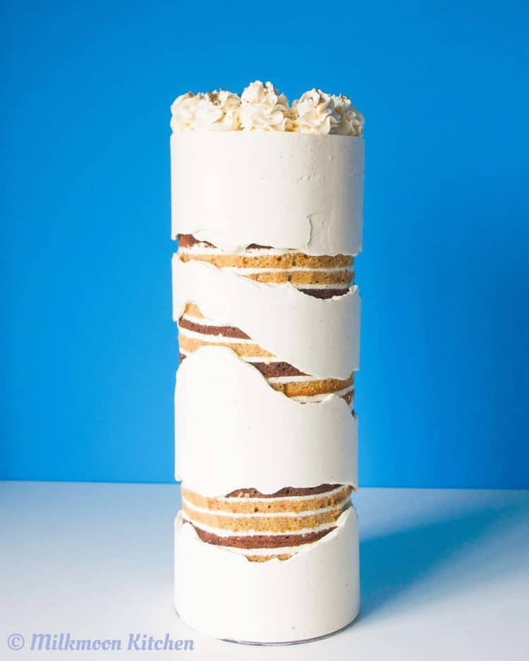 15+ Fault Line Cakes that WOW - Extra Tall Fault Line Cake with Naked Cake Showing