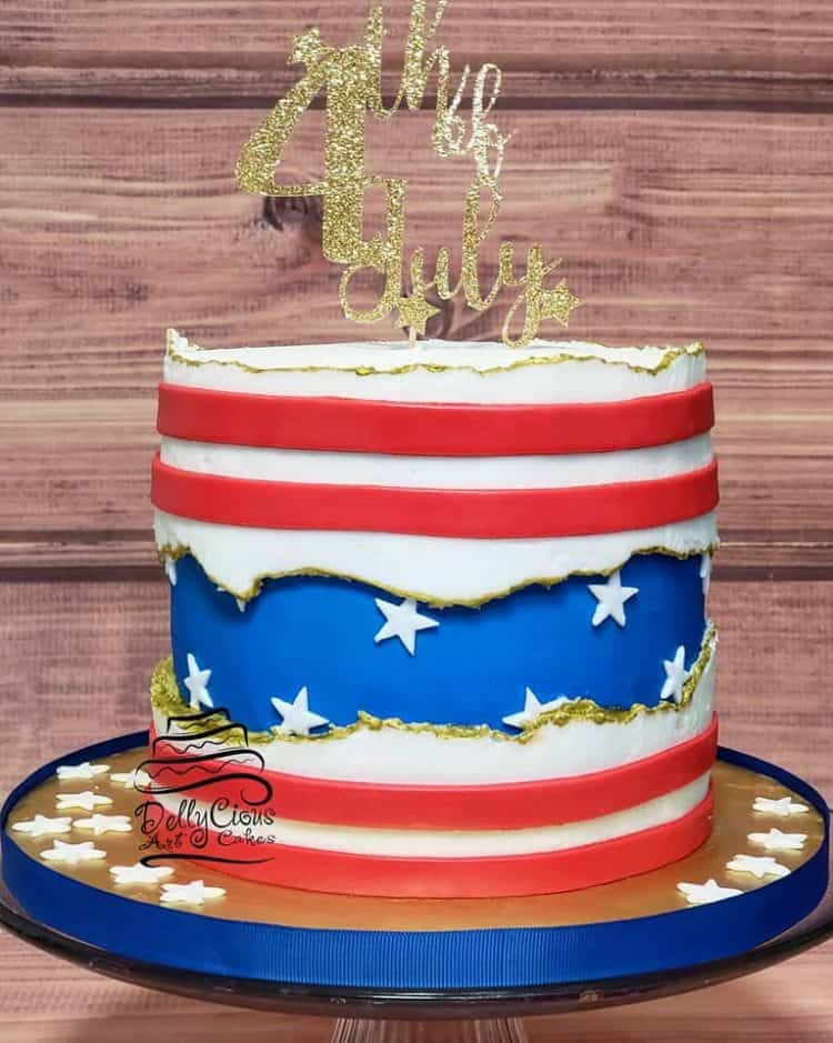 15+ Fault Line Cakes that WOW - Stars and Stripes 4th of July Cake