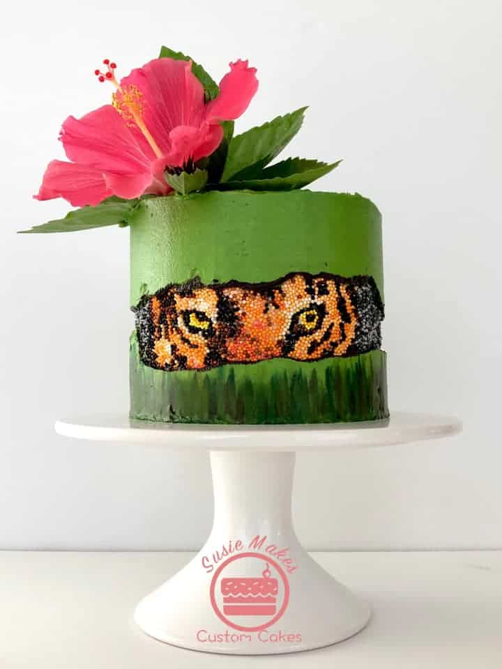15+ Fault Line Cakes that WOW - Tiger Fault Line Cake with Hibiscus flower