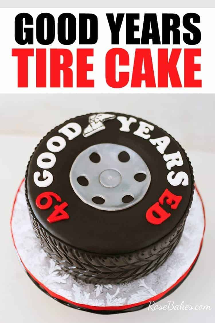 Tire Cake on silver board with text on image
