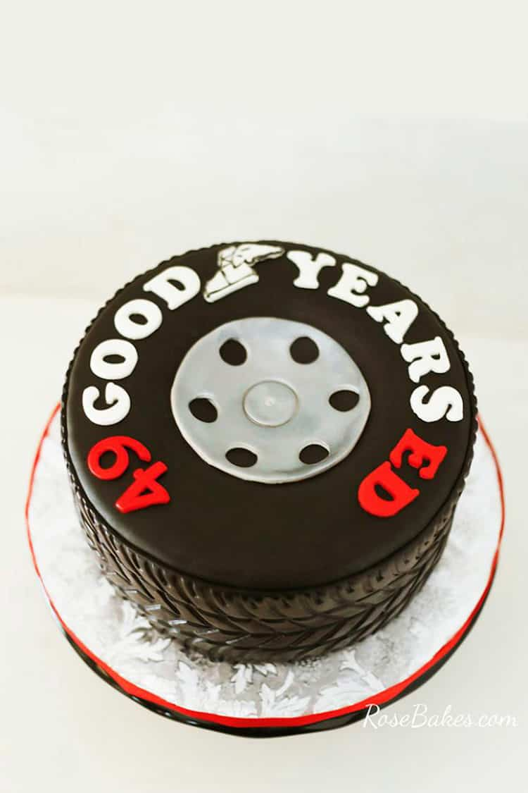 Good Years Tire Cake on silver board