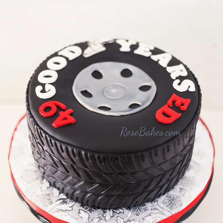 Tire Cake showing fondant tire tread on the side