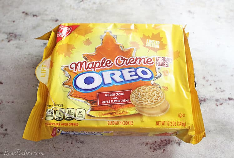 OREO Maple Creme Cookies on a marble counter