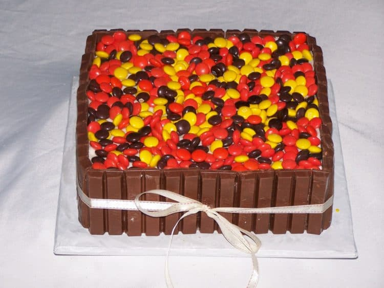 Kit Kat cake with reese's in fall colors