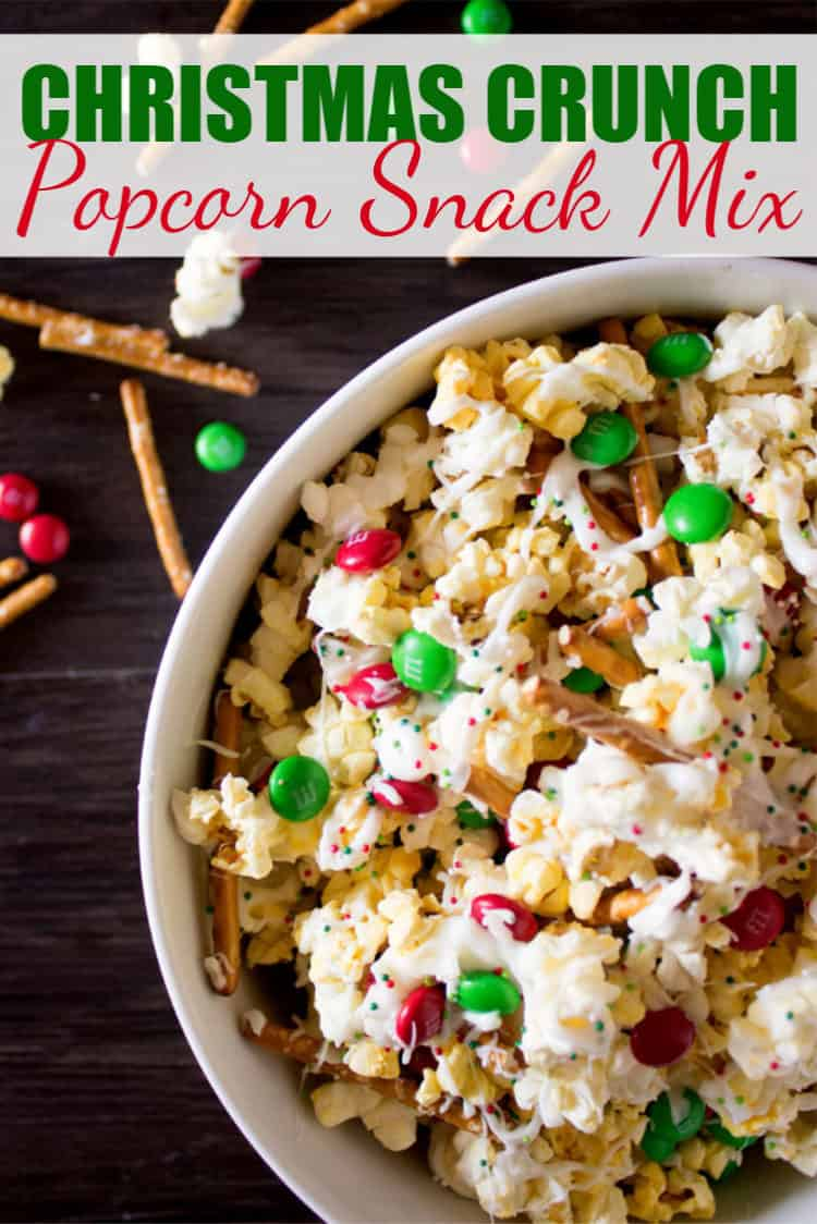 Christmas Crunch Popcorn Snack Mix in a white bowl with Pinterest text overlay
