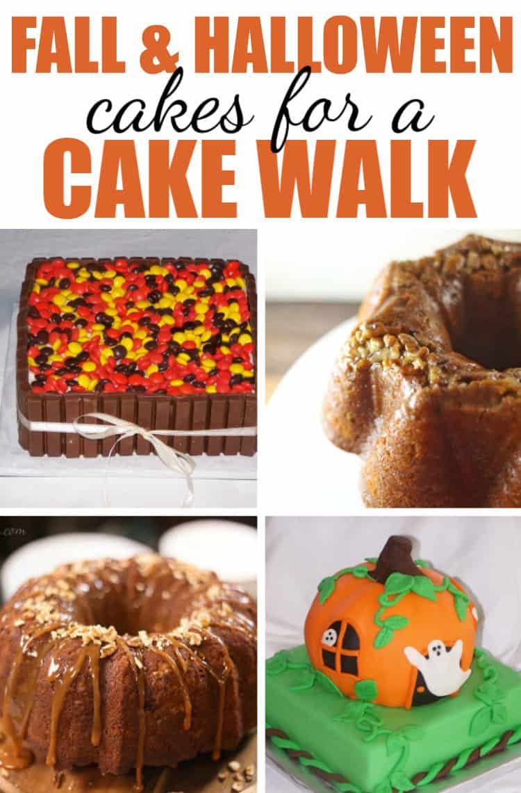 Fall and Halloween Cakes for a cake walk collage