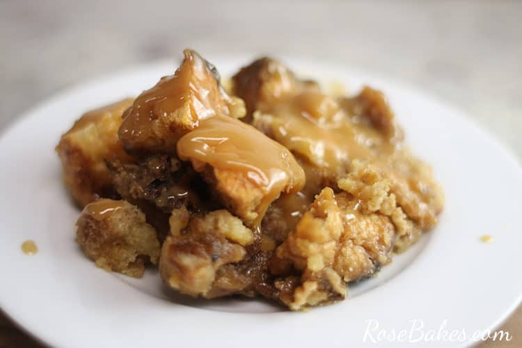 Jack Daniels Bread Pudding on a white plate