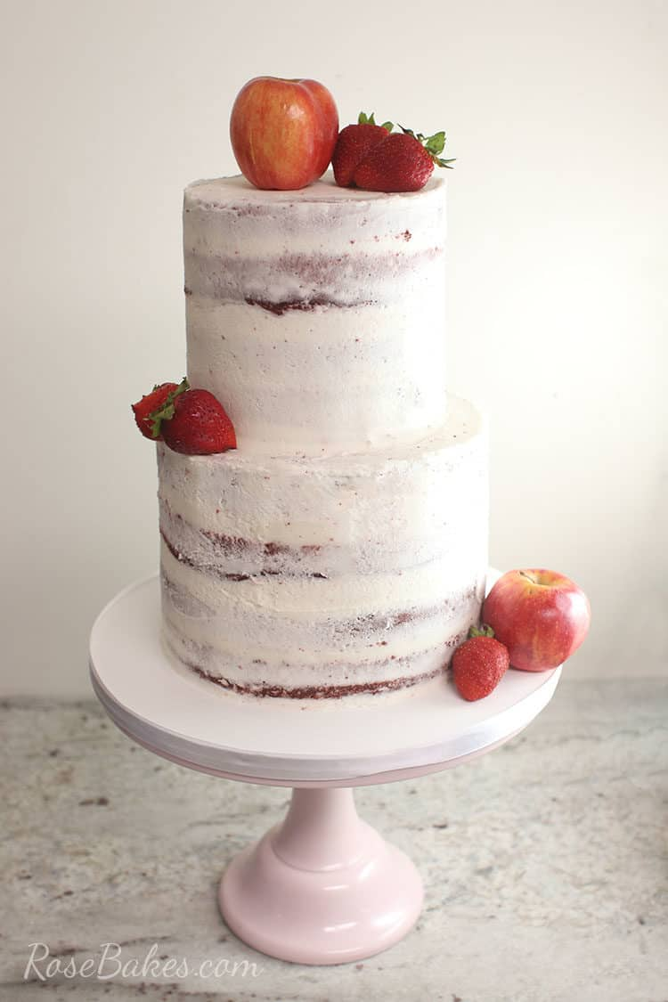 naked red velvet cake with fresh fruit