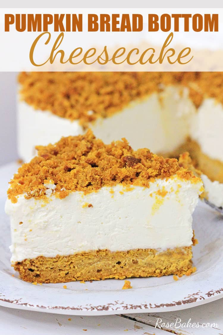 Pumpkin Bread Bottom Cheesecake recipe - slice on a white plate