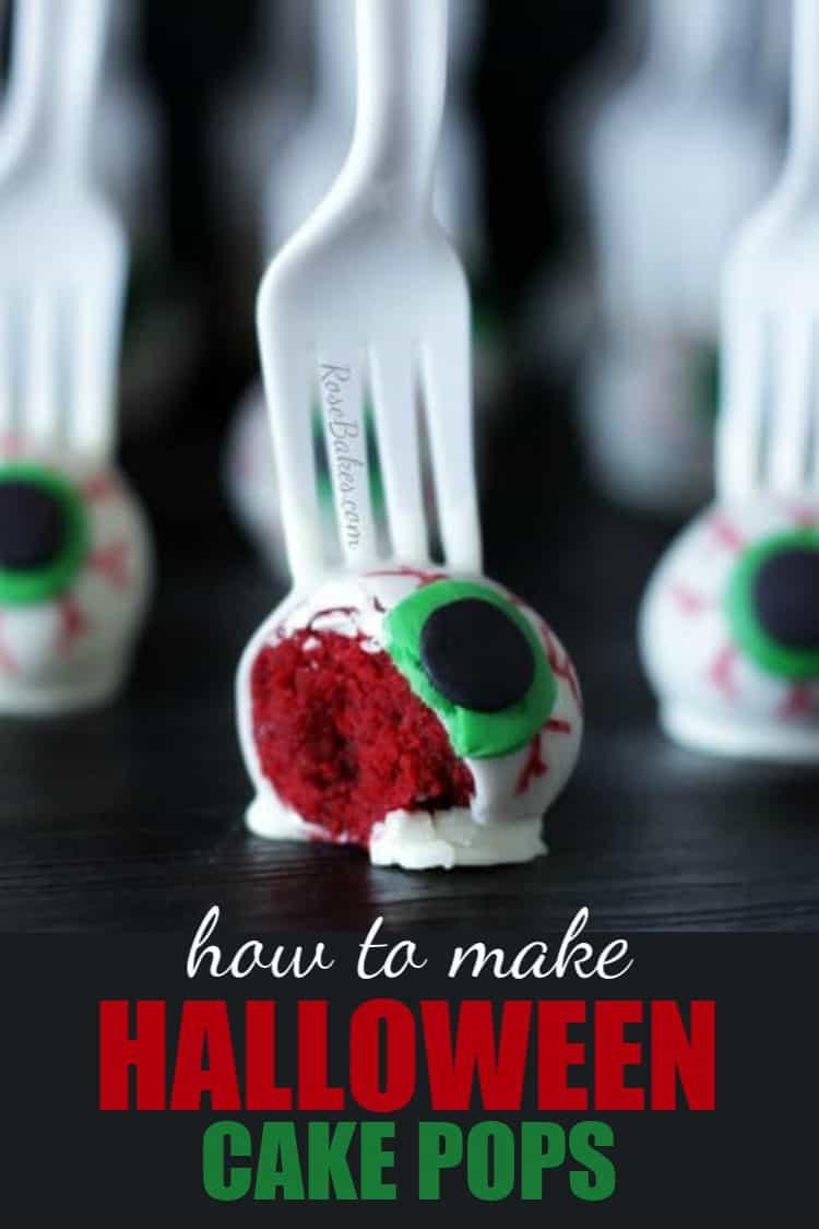 how to make halloween cake pops text on pic of eyeballs on a fork cake pops