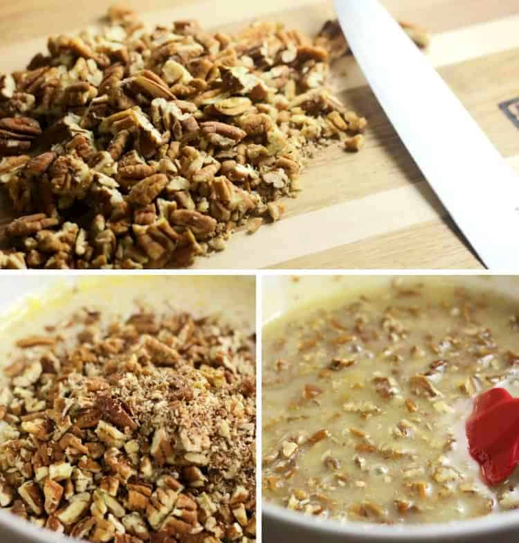 chopped pecans added to filling for Easy Pecan Pie Bars recipe