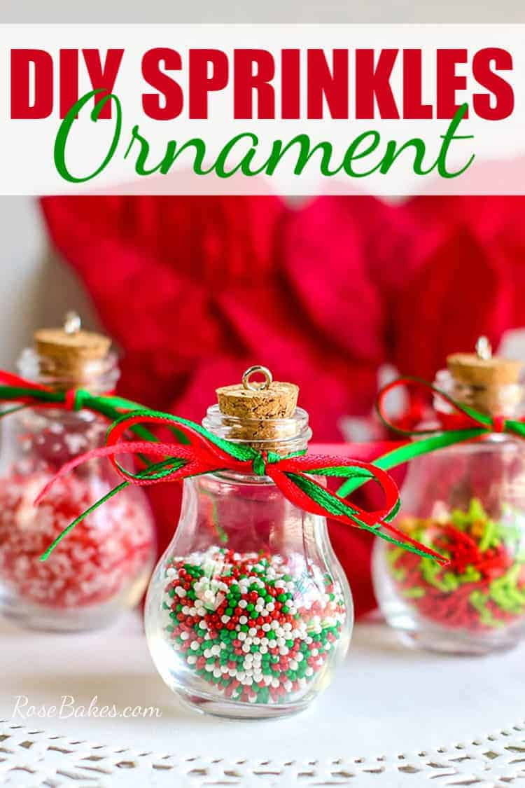 DIY Sprinkles Ornaments on a white doily with red background and text overlay