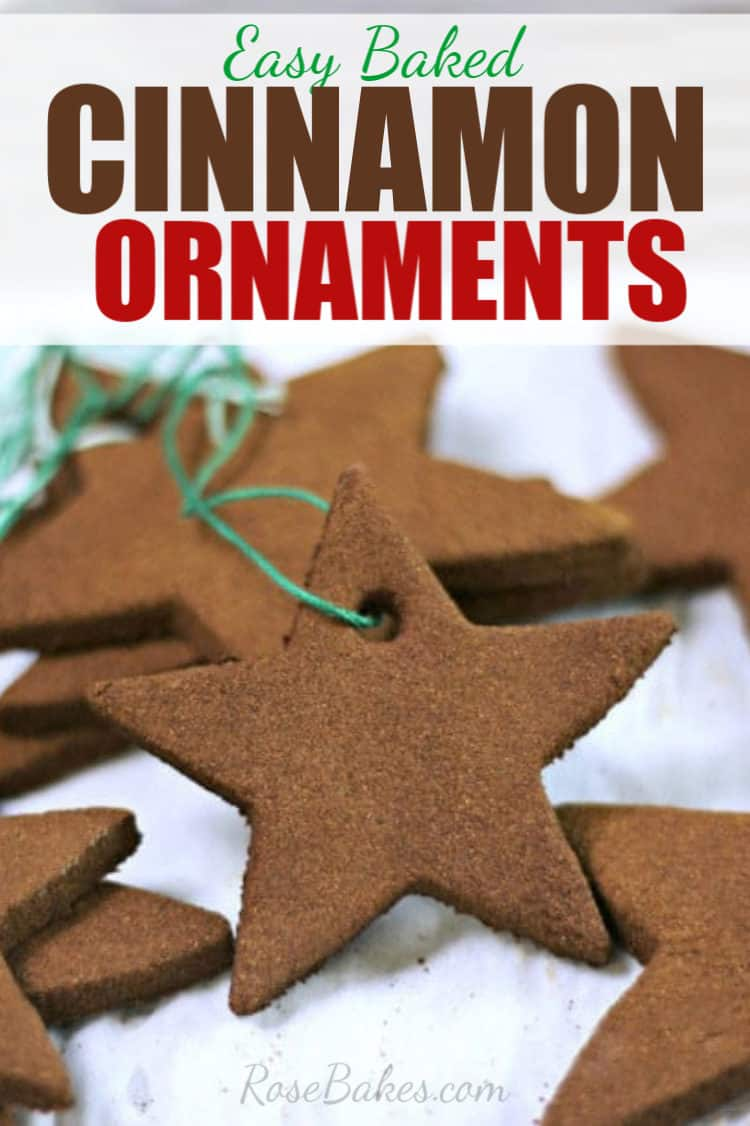 star-shaped easy baked cinnamon ornaments with green string