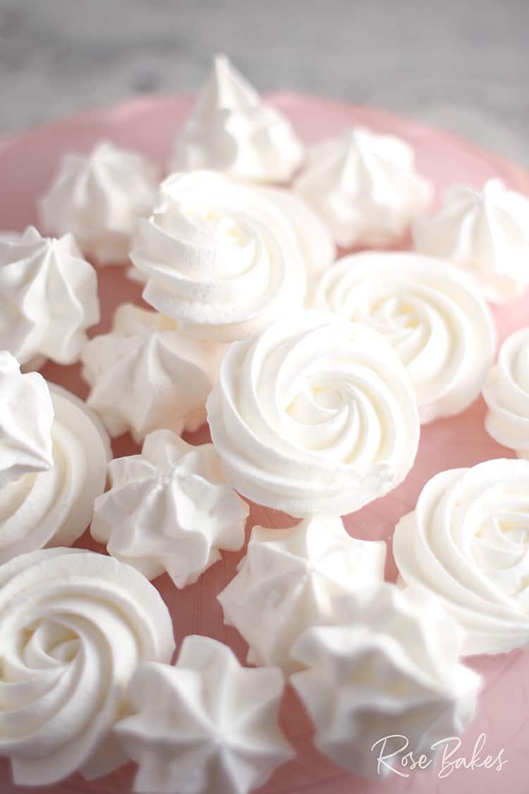 Easy Meringue Cookies on a pink cake plate