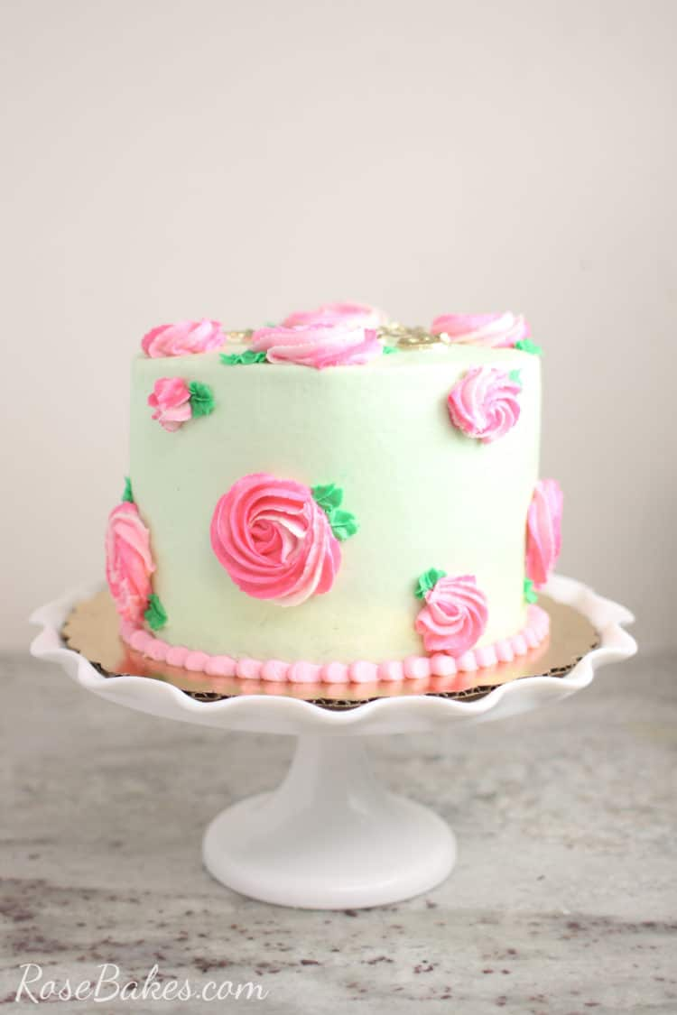 Mint Green Buttercream Cake with Pink Roses