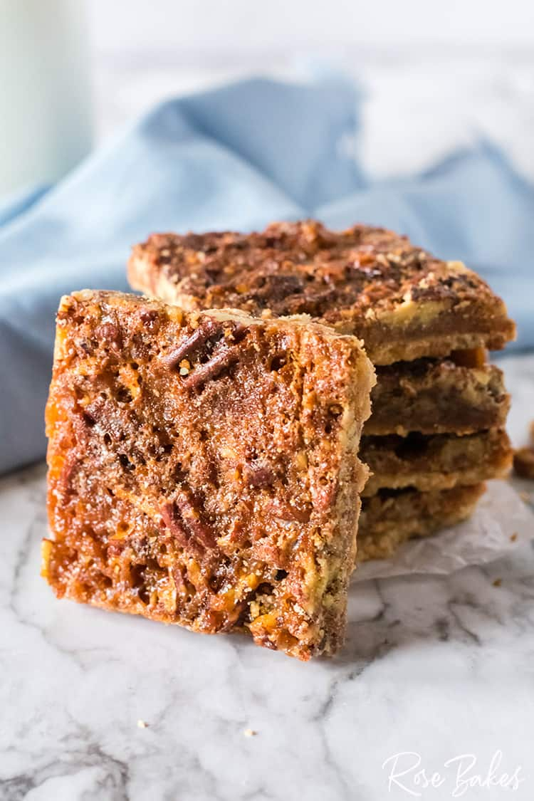 Easy Pecan Pie Bars recipe, cut and stacked