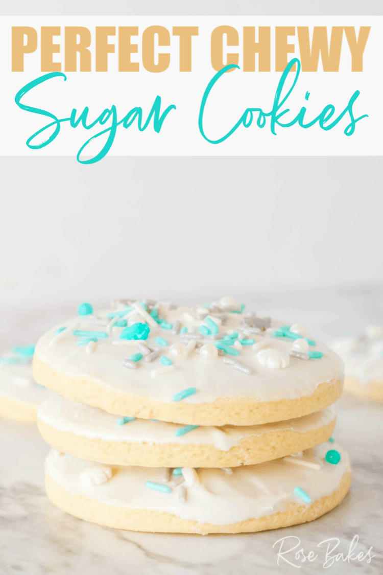 Perfect Sugar Cookies with royal icing and snowflake sprinkles made with self-rising flour