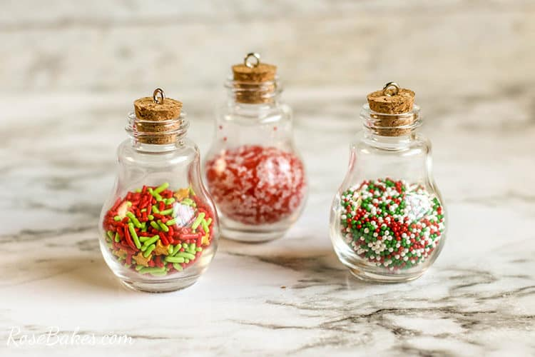 diy sprinkles ornaments with cork in