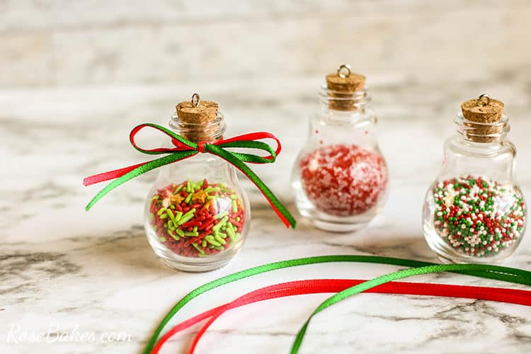 adding ribbons to sprinkles ornaments